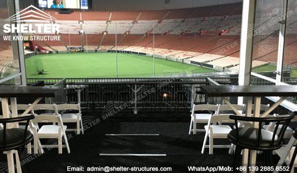 10 x 25m Dubla Decker VIP Seat Canopy Cort - Acoperiș curbat Două structură de poveste -10